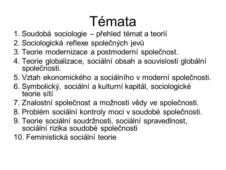 Témata 1. Soudobá sociologie – přehled témat a teorií 2. Sociologická reflexe společných jevů 3. Teorie modernizace a postmoderní společnost. 4. Teori