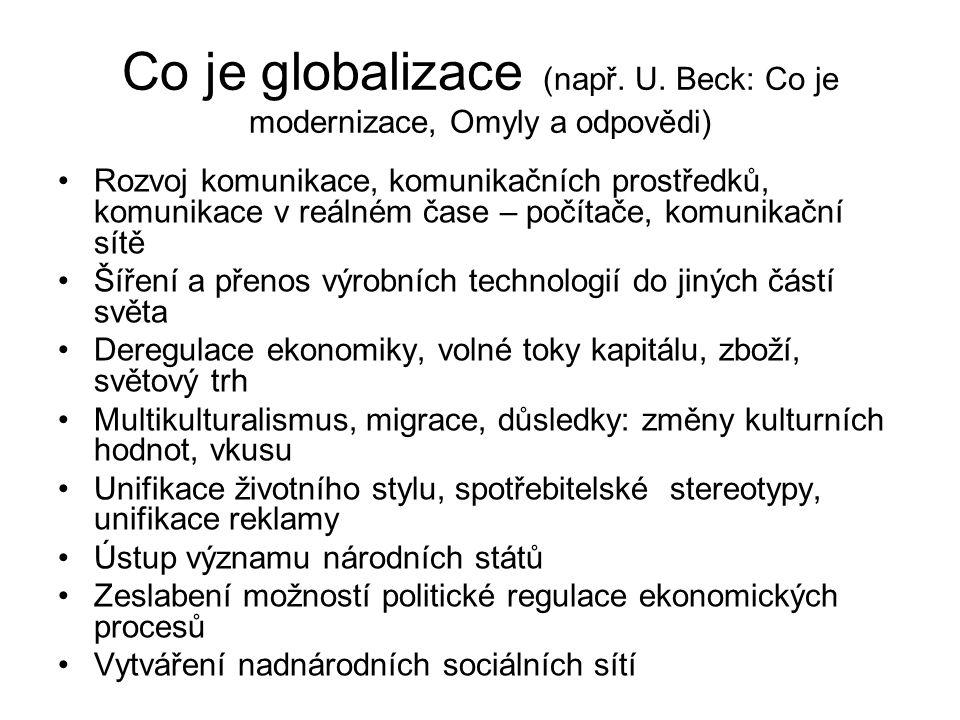 Co je globalizace (např. U. Beck: Co je modernizace, Omyly a odpovědi) Rozvoj komunikace, komunikačních prostředků, komunikace v reálném čase – počíta