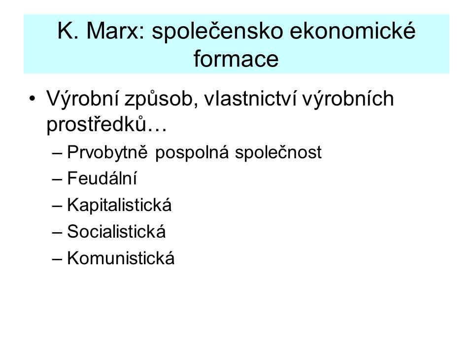 Výrobní způsob, vlastnictví výrobních prostředků… –Prvobytně pospolná společnost –Feudální –Kapitalistická –Socialistická –Komunistická K. Marx: spole