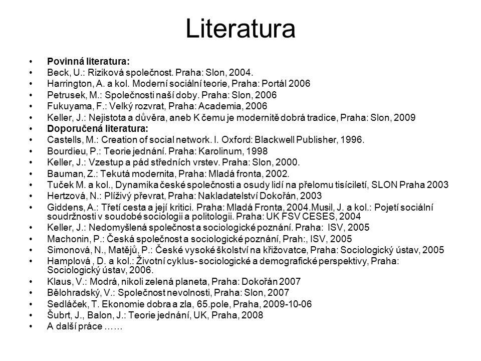 Literatura Povinná literatura: Beck, U.: Riziková společnost. Praha: Slon, 2004. Harrington, A. a kol. Moderní sociální teorie, Praha: Portál 2006 Pet