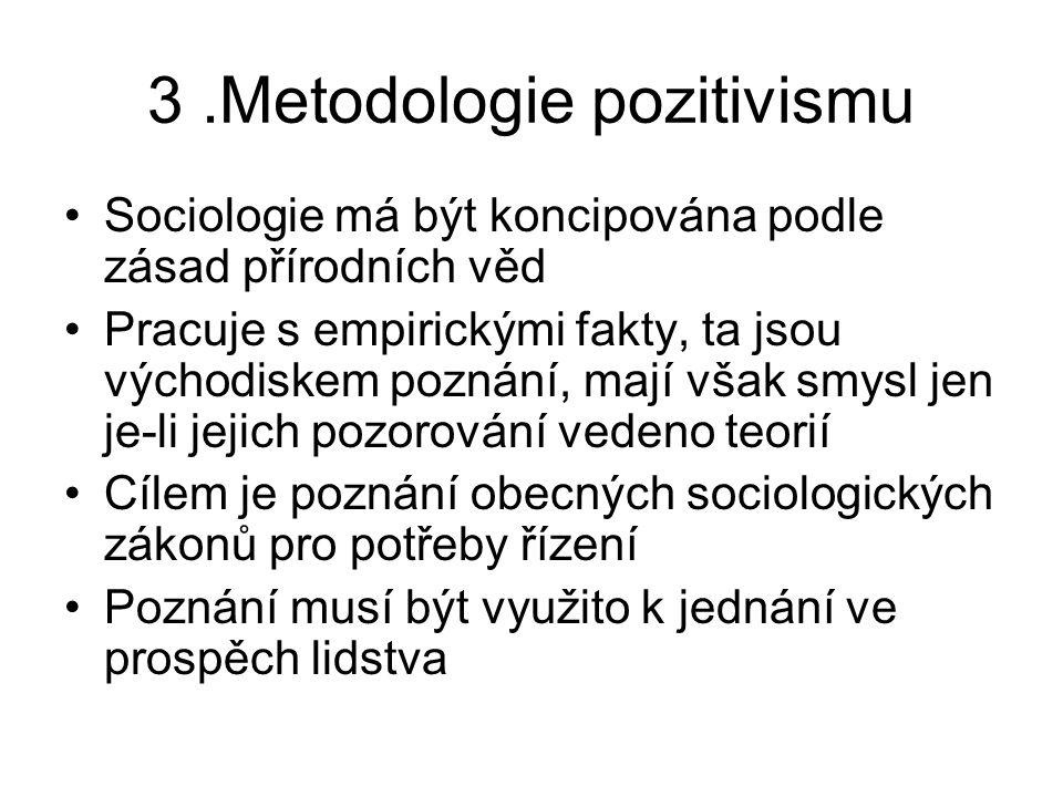 3.Metodologie pozitivismu Sociologie má být koncipována podle zásad přírodních věd Pracuje s empirickými fakty, ta jsou východiskem poznání, mají však