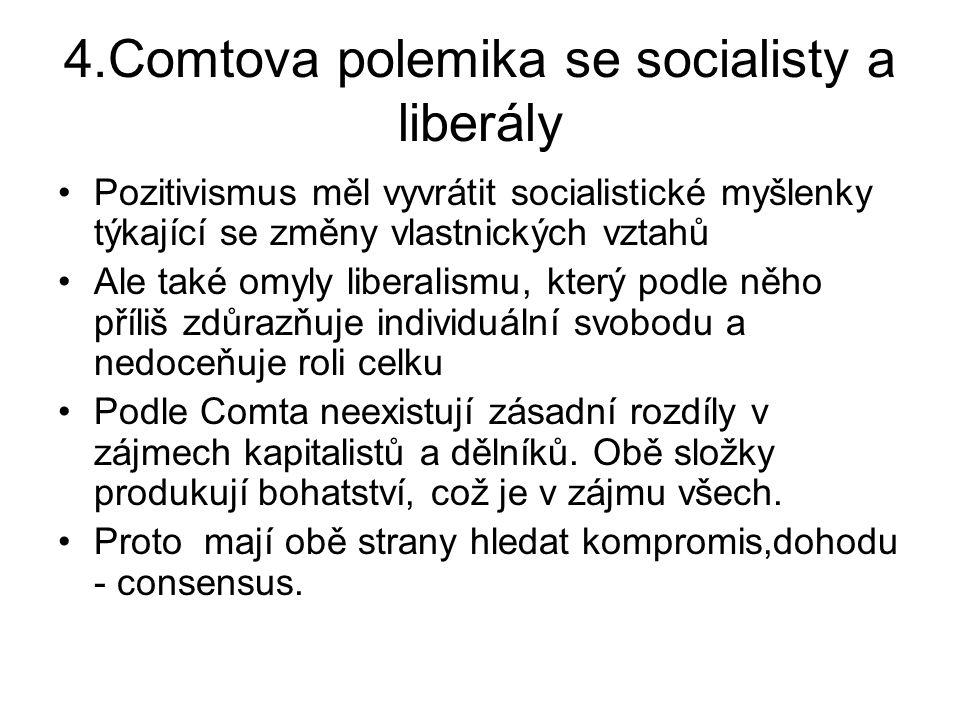 4.Comtova polemika se socialisty a liberály Pozitivismus měl vyvrátit socialistické myšlenky týkající se změny vlastnických vztahů Ale také omyly libe