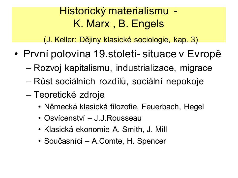 Historický materialismu - K. Marx, B. Engels (J. Keller: Dějiny klasické sociologie, kap. 3) První polovina 19.století- situace v Evropě –Rozvoj kapit