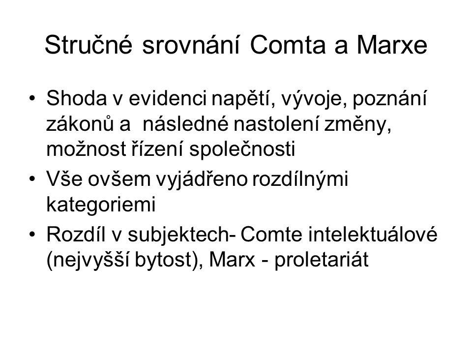 Stručné srovnání Comta a Marxe Shoda v evidenci napětí, vývoje, poznání zákonů a následné nastolení změny, možnost řízení společnosti Vše ovšem vyjádř