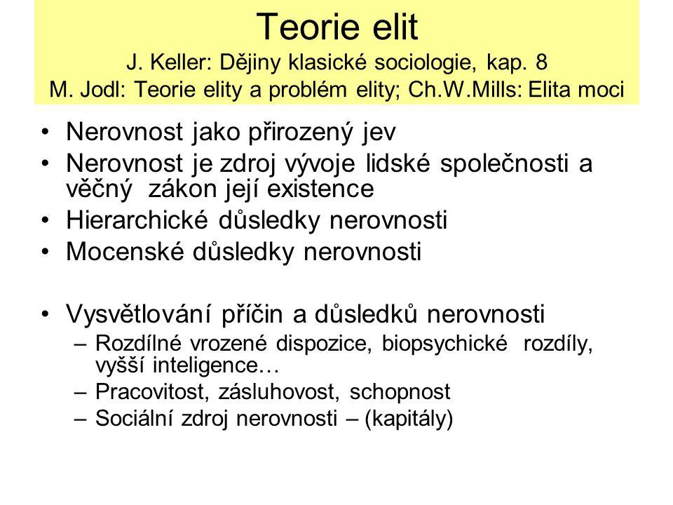 Teorie elit J. Keller: Dějiny klasické sociologie, kap. 8 M. Jodl: Teorie elity a problém elity; Ch.W.Mills: Elita moci Nerovnost jako přirozený jev N