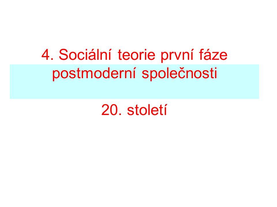 4. Sociální teorie první fáze postmoderní společnosti 20. století