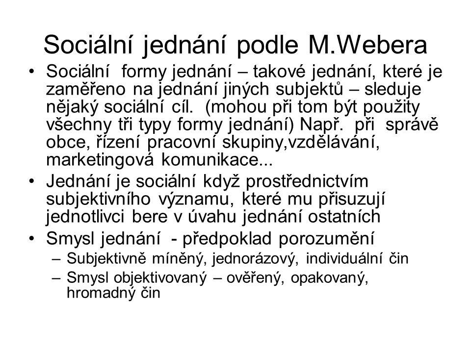 Sociální jednání podle M.Webera Sociální formy jednání – takové jednání, které je zaměřeno na jednání jiných subjektů – sleduje nějaký sociální cíl. (