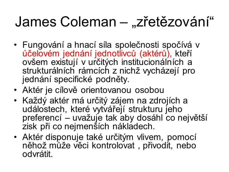 """James Coleman – """"zřetězování"""" Fungování a hnací síla společnosti spočívá v účelovém jednání jednotlivců (aktérů), kteří ovšem existují v určitých inst"""