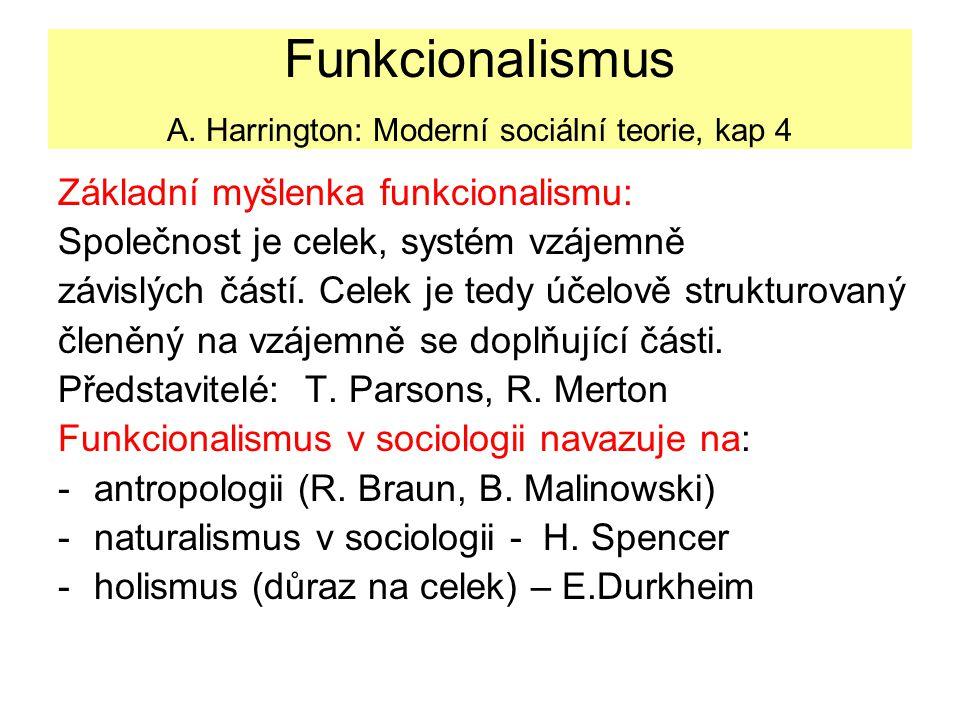 Funkcionalismus A. Harrington: Moderní sociální teorie, kap 4 Základní myšlenka funkcionalismu: Společnost je celek, systém vzájemně závislých částí.