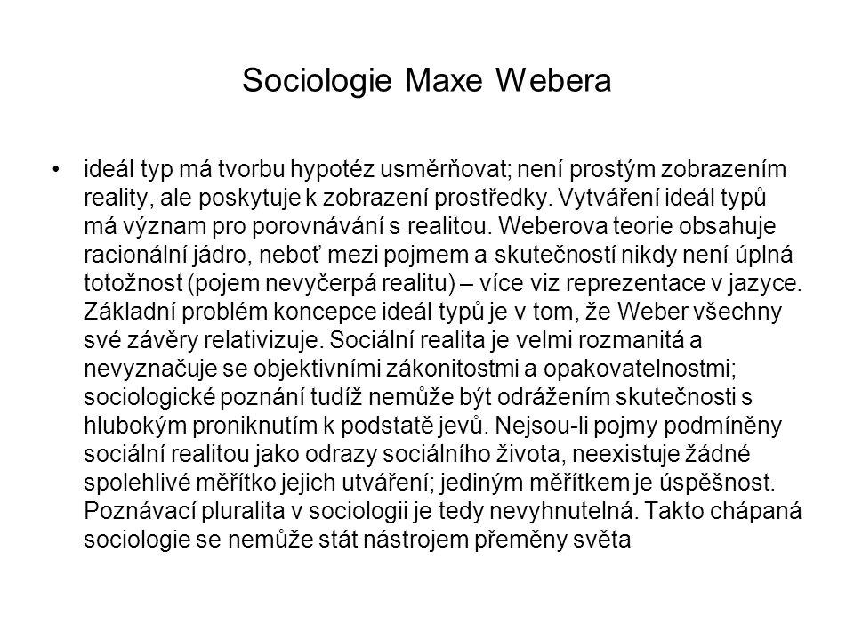 Sociologie Maxe Webera ideál typ má tvorbu hypotéz usměrňovat; není prostým zobrazením reality, ale poskytuje k zobrazení prostředky. Vytváření ideál