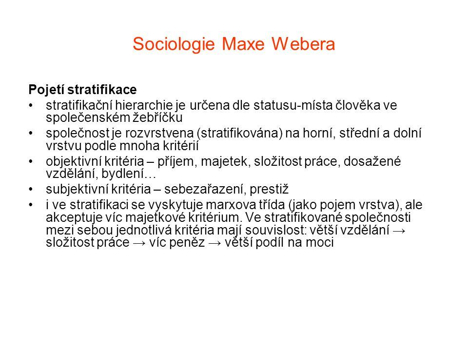 Sociologie Maxe Webera Pojetí stratifikace stratifikační hierarchie je určena dle statusu-místa člověka ve společenském žebříčku společnost je rozvrst