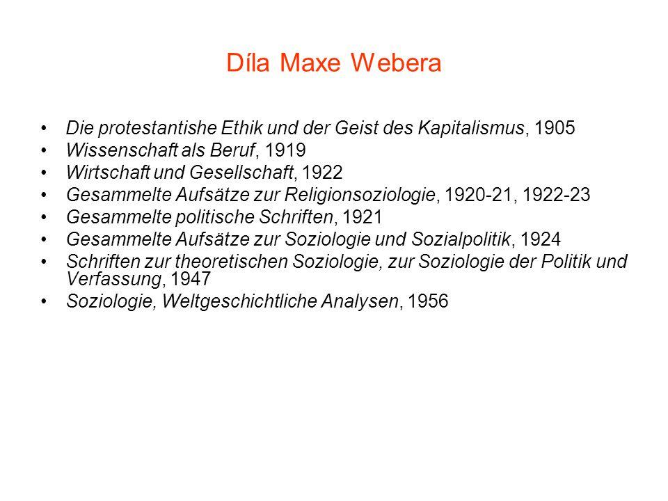 Díla Maxe Webera Die protestantishe Ethik und der Geist des Kapitalismus, 1905 Wissenschaft als Beruf, 1919 Wirtschaft und Gesellschaft, 1922 Gesammel