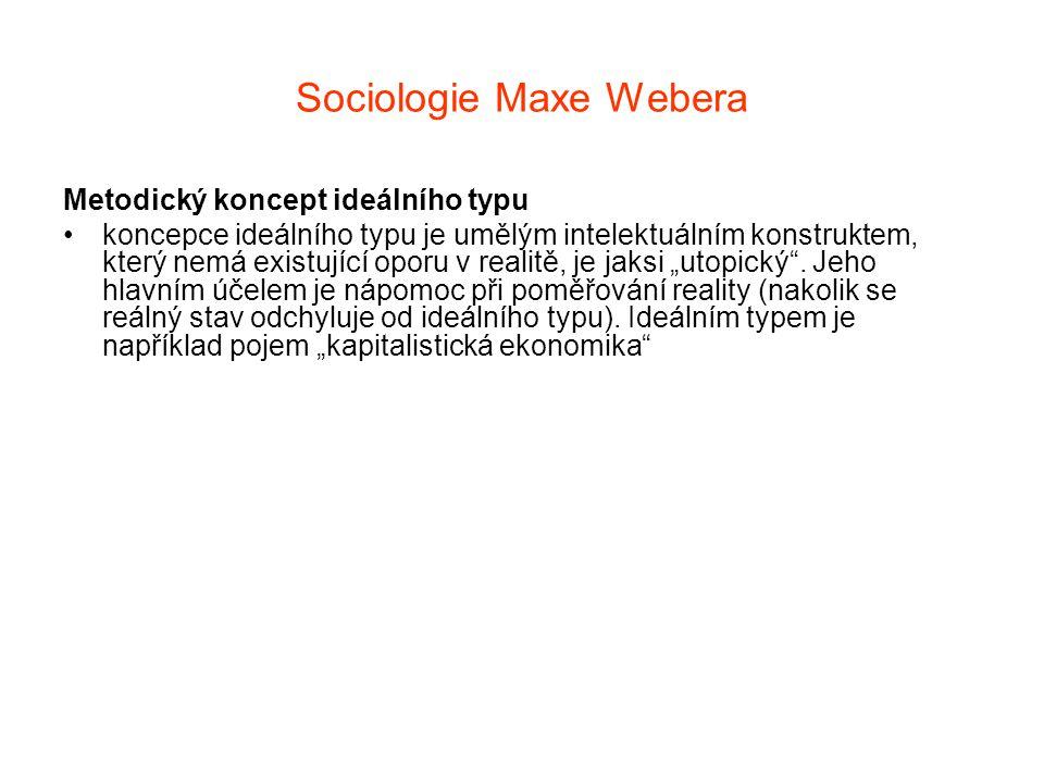 Sociologie Maxe Webera Metodický koncept ideálního typu koncepce ideálního typu je umělým intelektuálním konstruktem, který nemá existující oporu v re