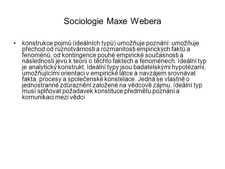 Sociologie Maxe Webera konstrukce pojmů (ideálních typů) umožňuje poznání: umožňuje přechod od různotvárnosti a rozmanitosti empirických faktů a fenom