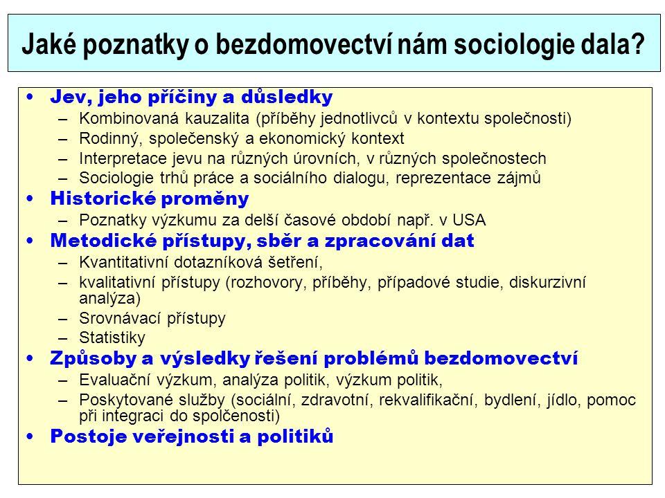 Jaké poznatky o bezdomovectví nám sociologie dala? Jev, jeho příčiny a důsledky –Kombinovaná kauzalita (příběhy jednotlivců v kontextu společnosti) –R