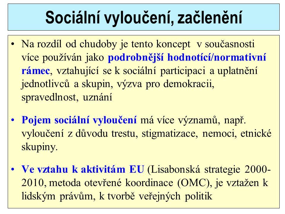 Sociální vyloučení, začlenění Na rozdíl od chudoby je tento koncept v současnosti více používán jako podrobnější hodnotící/normativní rámec, vztahujíc