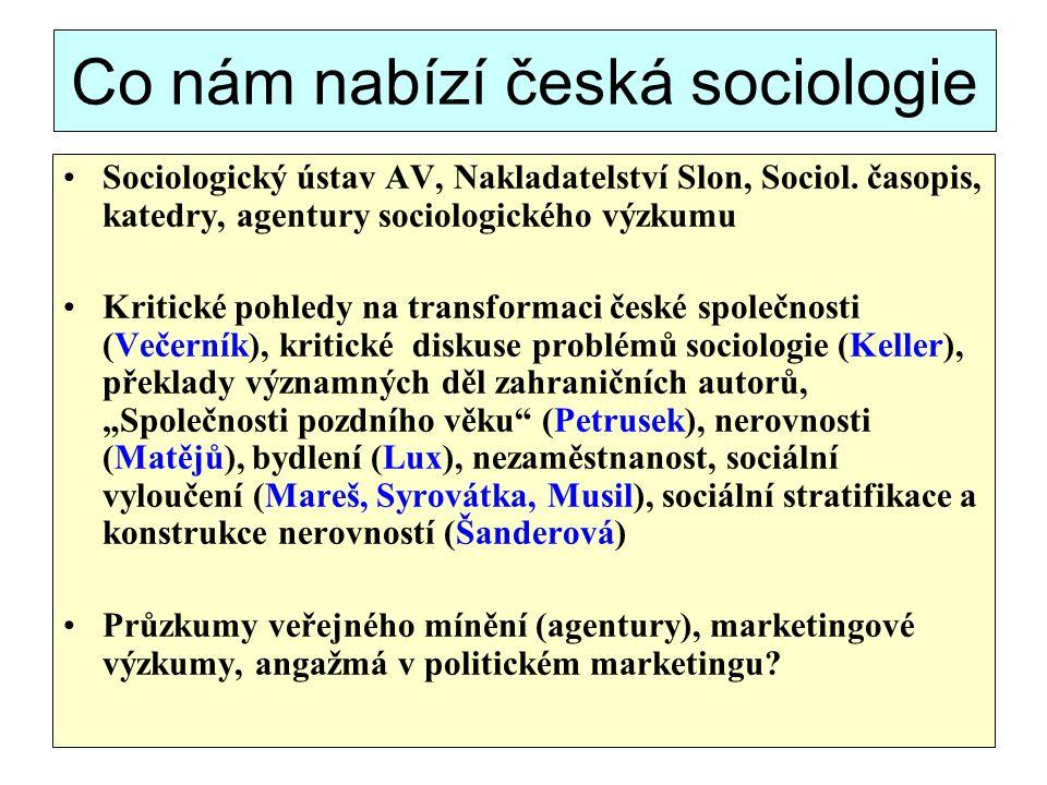 Co nám nabízí česká sociologie Sociologický ústav AV, Nakladatelství Slon, Sociol. časopis, katedry, agentury sociologického výzkumu Kritické pohledy