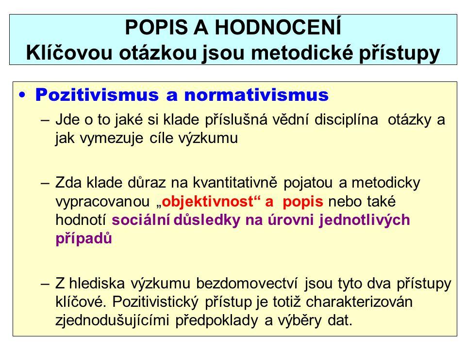 POPIS A HODNOCENÍ Klíčovou otázkou jsou metodické přístupy Pozitivismus a normativismus –Jde o to jaké si klade příslušná vědní disciplína otázky a ja