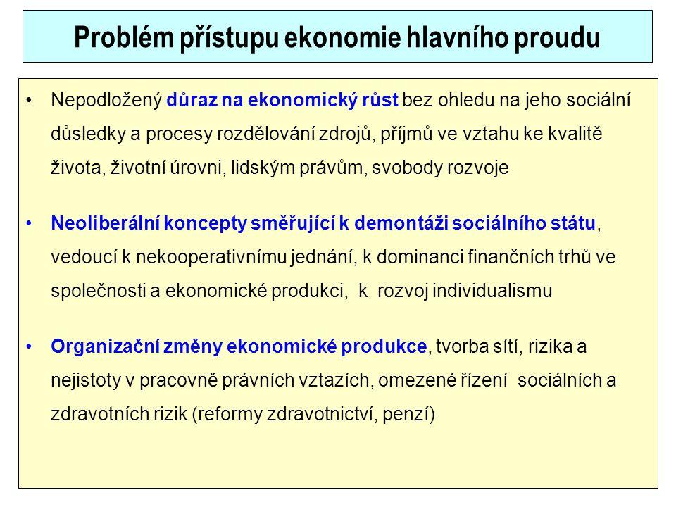 Problém přístupu ekonomie hlavního proudu Nepodložený důraz na ekonomický růst bez ohledu na jeho sociální důsledky a procesy rozdělování zdrojů, příj