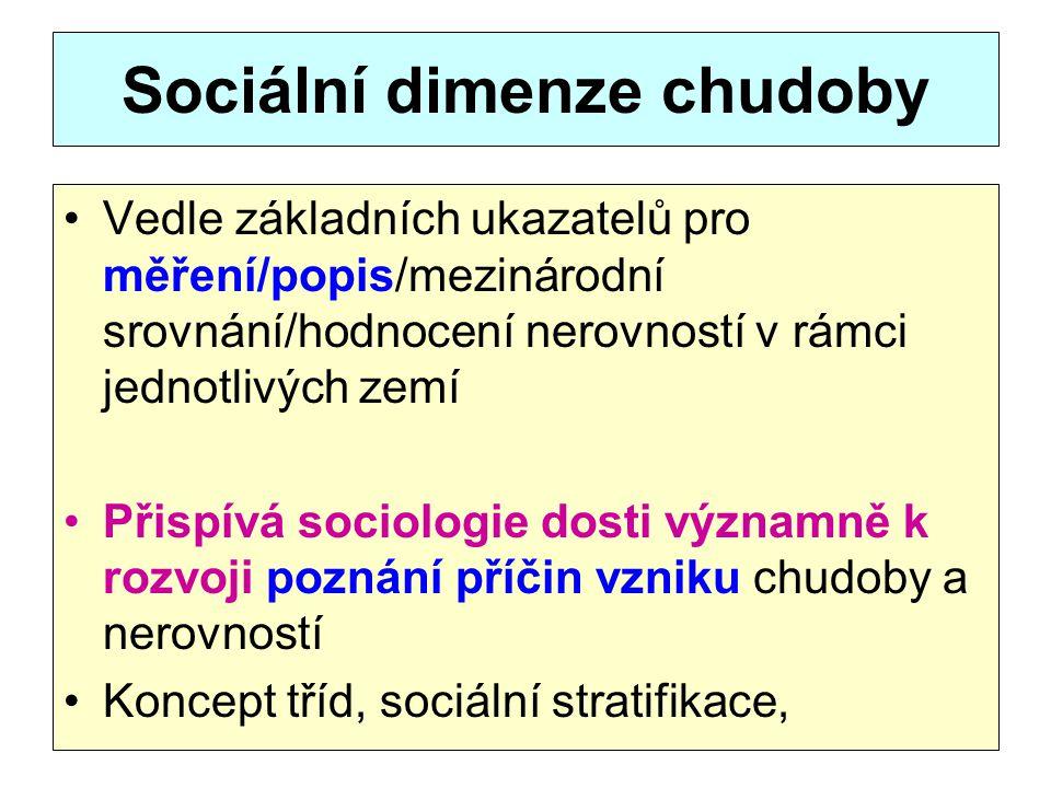 Sociální dimenze chudoby Vedle základních ukazatelů pro měření/popis/mezinárodní srovnání/hodnocení nerovností v rámci jednotlivých zemí Přispívá soci