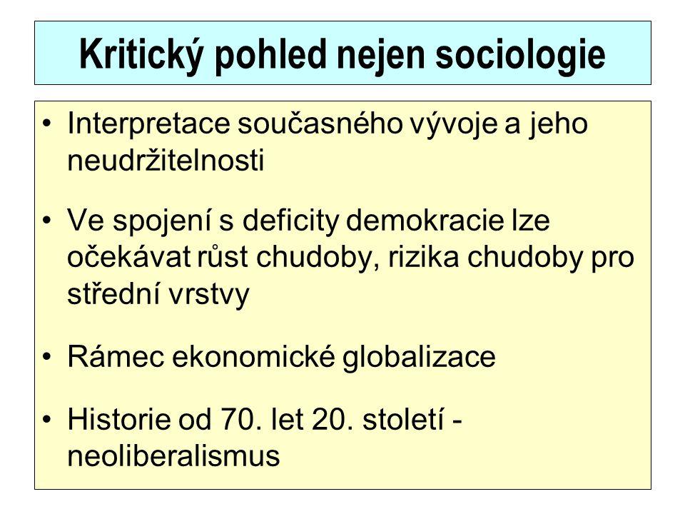 Kritický pohled nejen sociologie Interpretace současného vývoje a jeho neudržitelnosti Ve spojení s deficity demokracie lze očekávat růst chudoby, riz