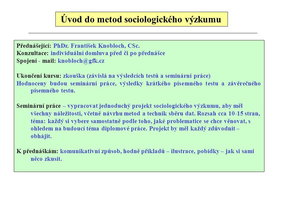 Úvod do metod sociologického výzkumu Přednášející: PhDr. František Knobloch, CSc. Konzultace: individuální domluva před či po přednášce Spojení - mail