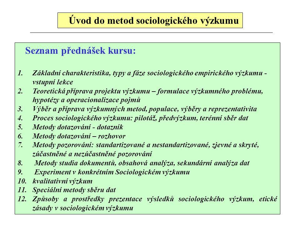 Úvod do metod sociologického výzkumu Seznam přednášek kursu: 1.Základní charakteristika, typy a fáze sociologického empirického výzkumu - vstupní lekc