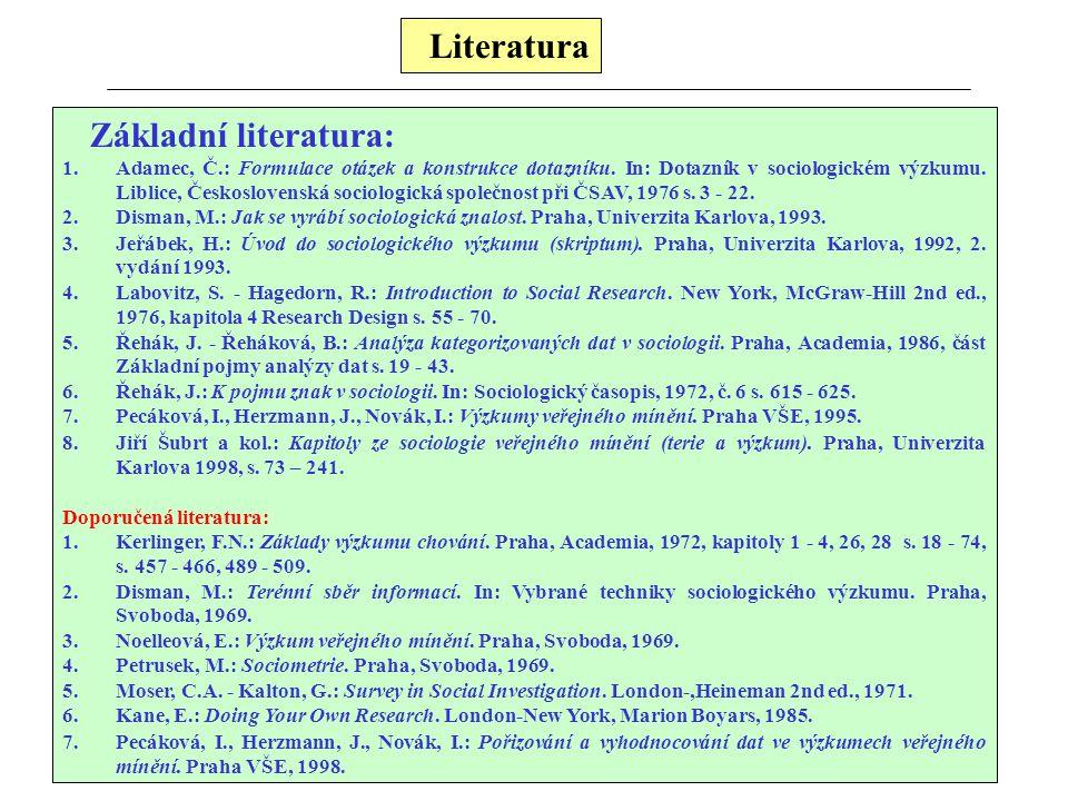 Literatura Základní literatura: 1.Adamec, Č.: Formulace otázek a konstrukce dotazníku. In: Dotazník v sociologickém výzkumu. Liblice, Československá s