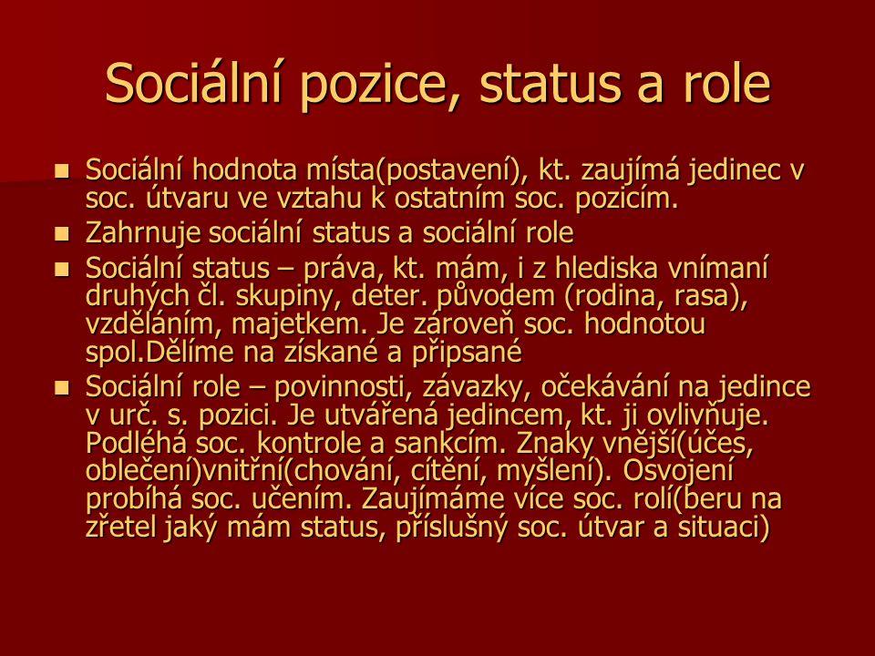 Sociální pozice, status a role Sociální hodnota místa(postavení), kt. zaujímá jedinec v soc. útvaru ve vztahu k ostatním soc. pozicím. Sociální hodnot