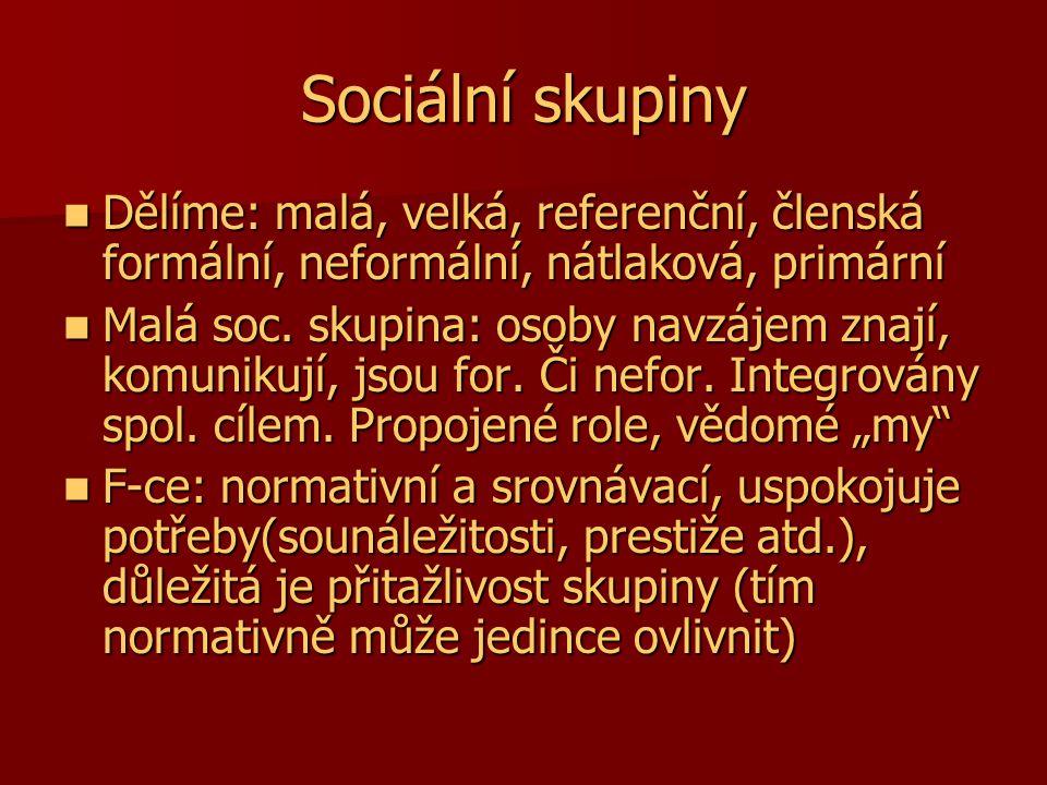 Sociální skupiny Dělíme: malá, velká, referenční, členská formální, neformální, nátlaková, primární Dělíme: malá, velká, referenční, členská formální,