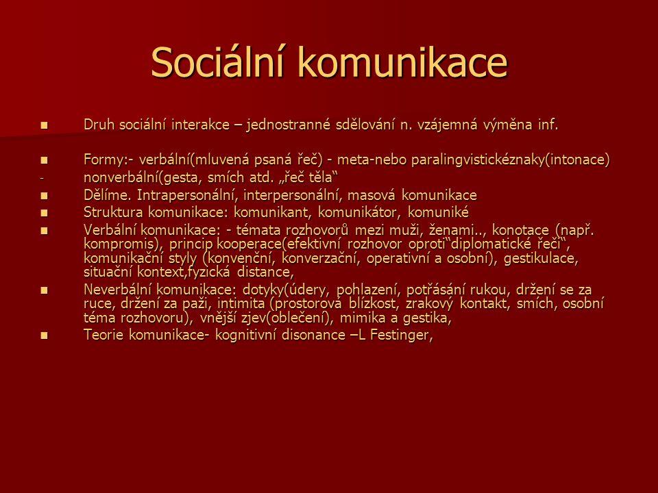 Sociální komunikace Druh sociální interakce – jednostranné sdělování n. vzájemná výměna inf. Druh sociální interakce – jednostranné sdělování n. vzáje