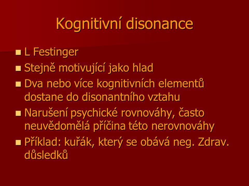 Kognitivní disonance L Festinger L Festinger Stejně motivující jako hlad Stejně motivující jako hlad Dva nebo více kognitivních elementů dostane do di