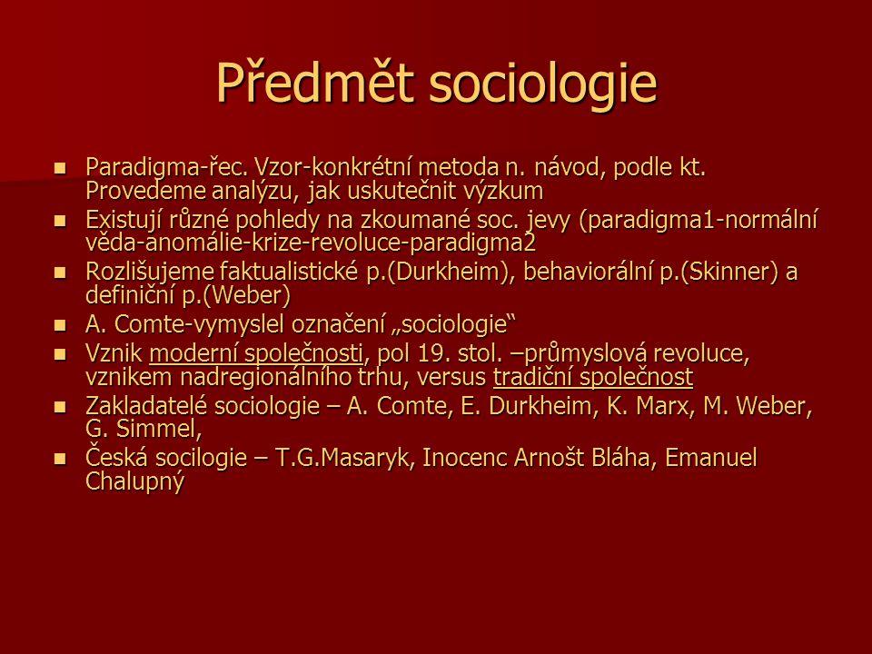 Předmět sociologie Paradigma-řec. Vzor-konkrétní metoda n. návod, podle kt. Provedeme analýzu, jak uskutečnit výzkum Paradigma-řec. Vzor-konkrétní met