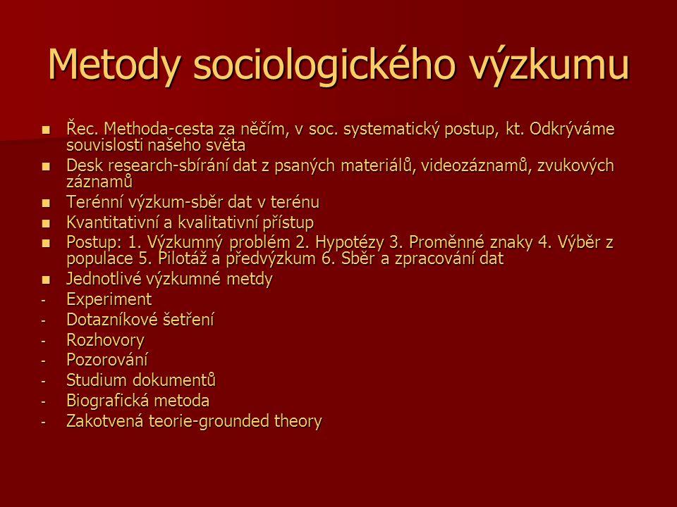 Metody sociologického výzkumu Řec. Methoda-cesta za něčím, v soc. systematický postup, kt. Odkrýváme souvislosti našeho světa Řec. Methoda-cesta za ně