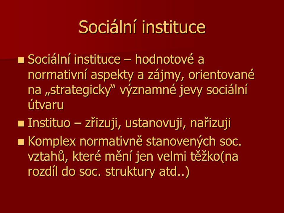 """Sociální instituce Sociální instituce – hodnotové a normativní aspekty a zájmy, orientované na """"strategicky"""" významné jevy sociální útvaru Sociální in"""