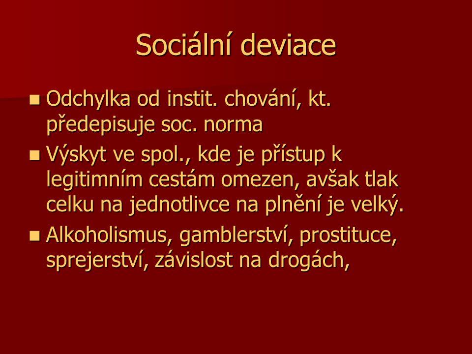 Sociální deviace Odchylka od instit. chování, kt. předepisuje soc. norma Odchylka od instit. chování, kt. předepisuje soc. norma Výskyt ve spol., kde