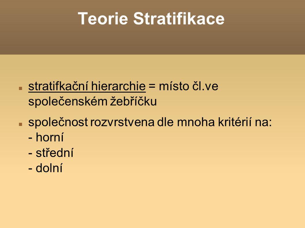 Teorie Stratifikace stratifkační hierarchie = místo čl.ve společenském žebříčku společnost rozvrstvena dle mnoha kritérií na: - horní - střední - doln