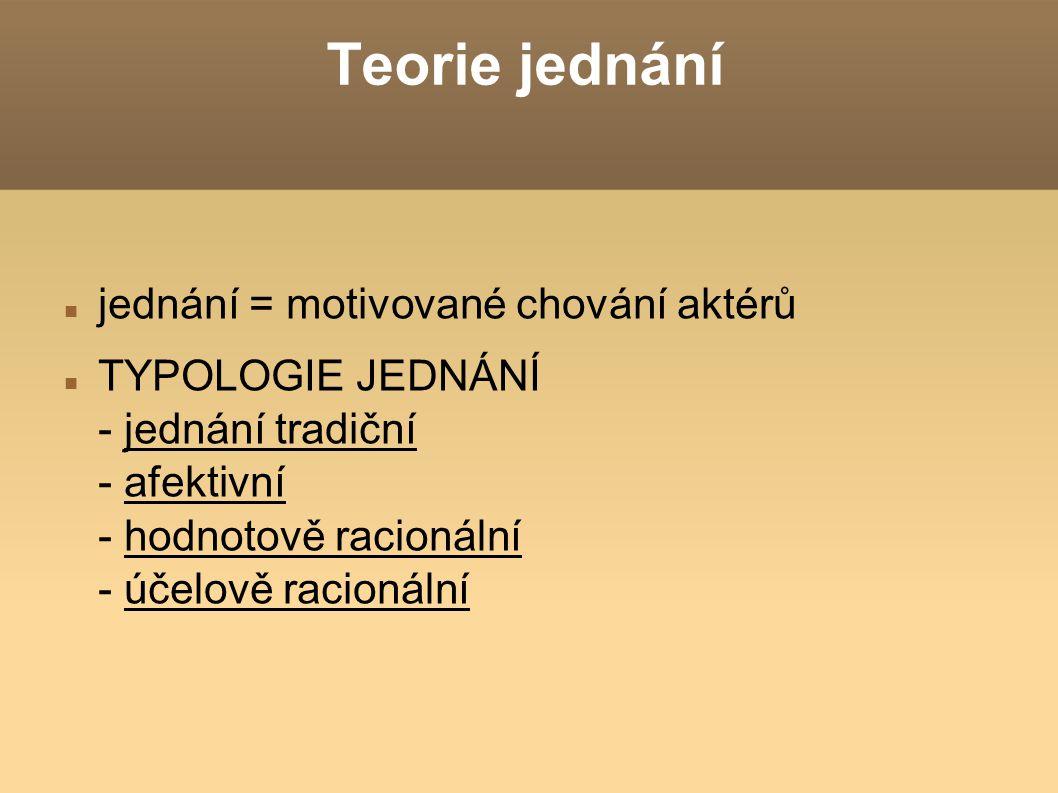 Teorie jednání jednání = motivované chování aktérů TYPOLOGIE JEDNÁNÍ - jednání tradiční - afektivní - hodnotově racionální - účelově racionální