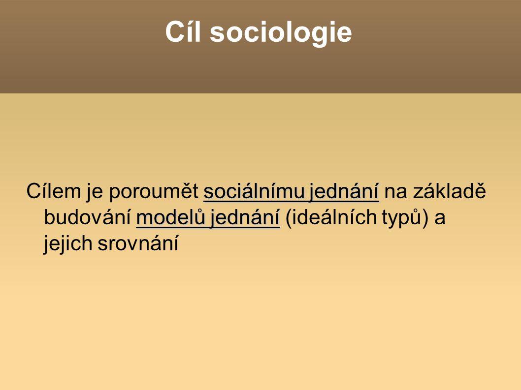 Cíl sociologie sociálnímu jednání modelů jednání Cílem je poroumět sociálnímu jednání na základě budování modelů jednání (ideálních typů) a jejich sro