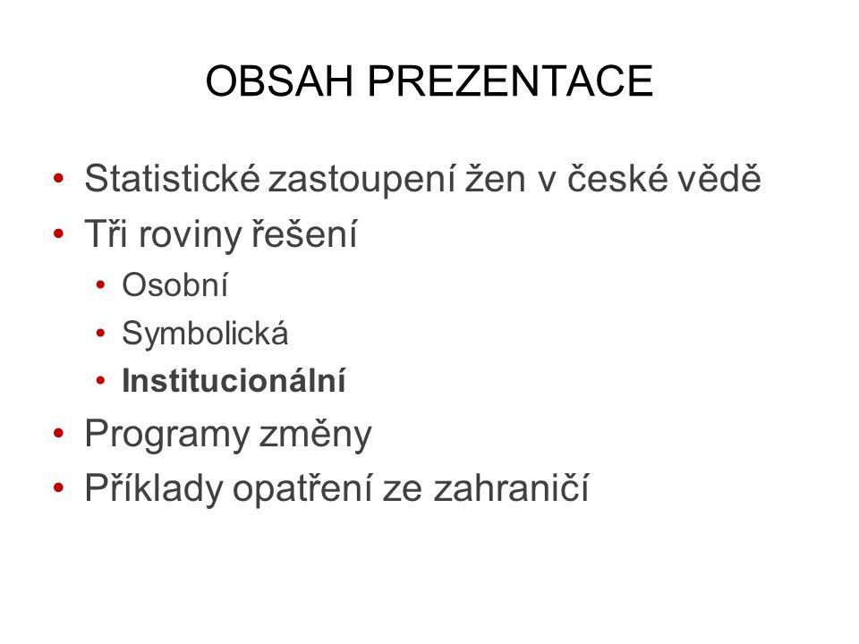 OBSAH PREZENTACE Statistické zastoupení žen v české vědě Tři roviny řešení Osobní Symbolická Institucionální Programy změny Příklady opatření ze zahraničí