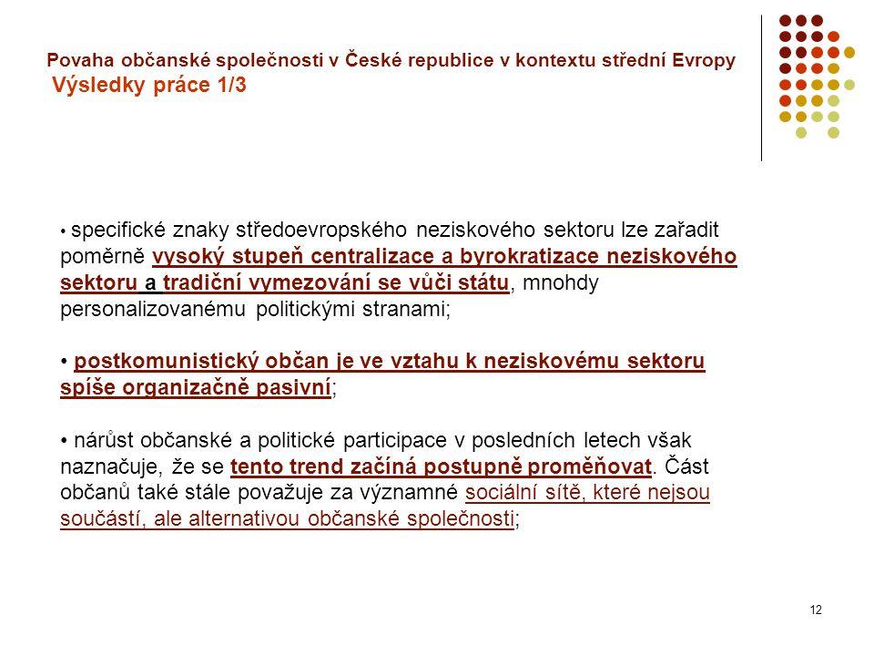 12 Povaha občanské společnosti v České republice v kontextu střední Evropy Výsledky práce 1/3 specifické znaky středoevropského neziskového sektoru lze zařadit poměrně vysoký stupeň centralizace a byrokratizace neziskového sektoru a tradiční vymezování se vůči státu, mnohdy personalizovanému politickými stranami; postkomunistický občan je ve vztahu k neziskovému sektoru spíše organizačně pasivní; nárůst občanské a politické participace v posledních letech však naznačuje, že se tento trend začíná postupně proměňovat.