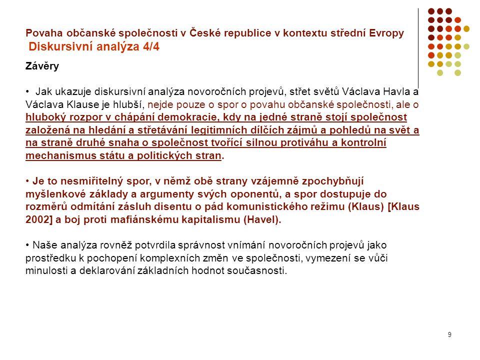 9 Povaha občanské společnosti v České republice v kontextu střední Evropy Diskursivní analýza 4/4 Závěry Jak ukazuje diskursivní analýza novoročních projevů, střet světů Václava Havla a Václava Klause je hlubší, nejde pouze o spor o povahu občanské společnosti, ale o hluboký rozpor v chápání demokracie, kdy na jedné straně stojí společnost založená na hledání a střetávání legitimních dílčích zájmů a pohledů na svět a na straně druhé snaha o společnost tvořící silnou protiváhu a kontrolní mechanismus státu a politických stran.