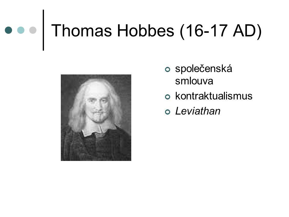 Thomas Hobbes (16-17 AD) společenská smlouva kontraktualismus Leviathan