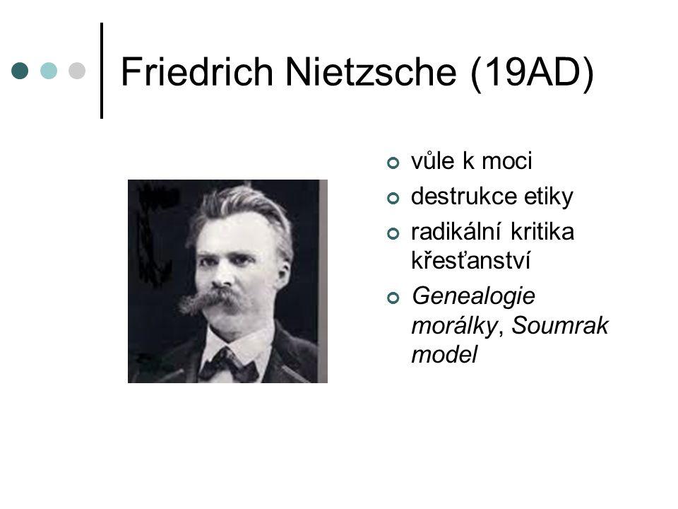 Friedrich Nietzsche (19AD) vůle k moci destrukce etiky radikální kritika křesťanství Genealogie morálky, Soumrak model