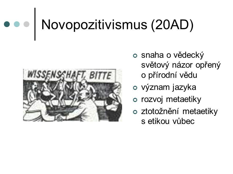 Novopozitivismus (20AD) snaha o vědecký světový názor opřený o přírodní vědu význam jazyka rozvoj metaetiky ztotožnění metaetiky s etikou vůbec