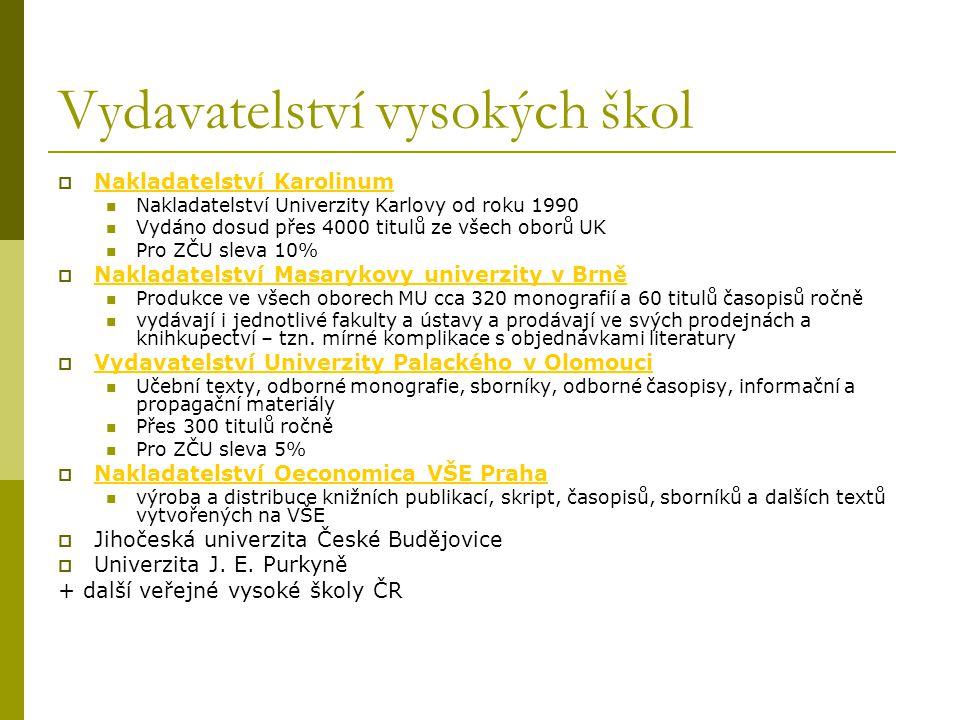 Vydavatelství vysokých škol  Nakladatelství Karolinum Nakladatelství Karolinum Nakladatelství Univerzity Karlovy od roku 1990 Vydáno dosud přes 4000