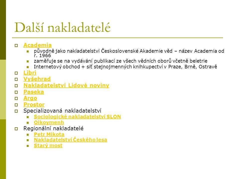 Další nakladatelé  Academia Academia původně jako nakladatelství Československé Akademie věd – název Academia od r. 1966 zaměřuje se na vydávání publ