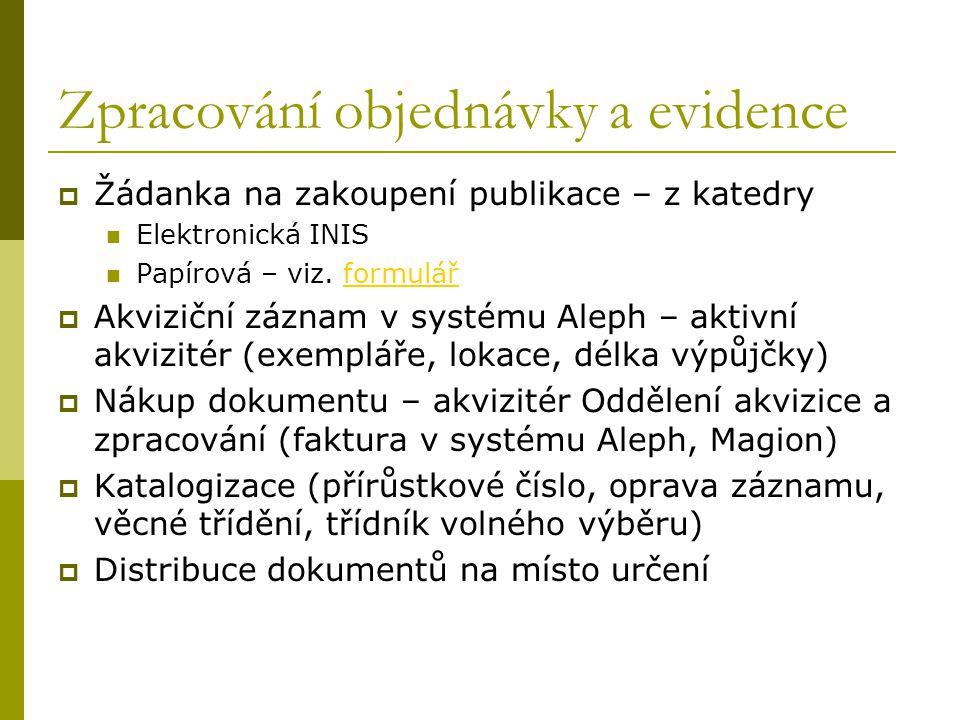 Zpracování objednávky a evidence  Žádanka na zakoupení publikace – z katedry Elektronická INIS Papírová – viz. formulářformulář  Akviziční záznam v