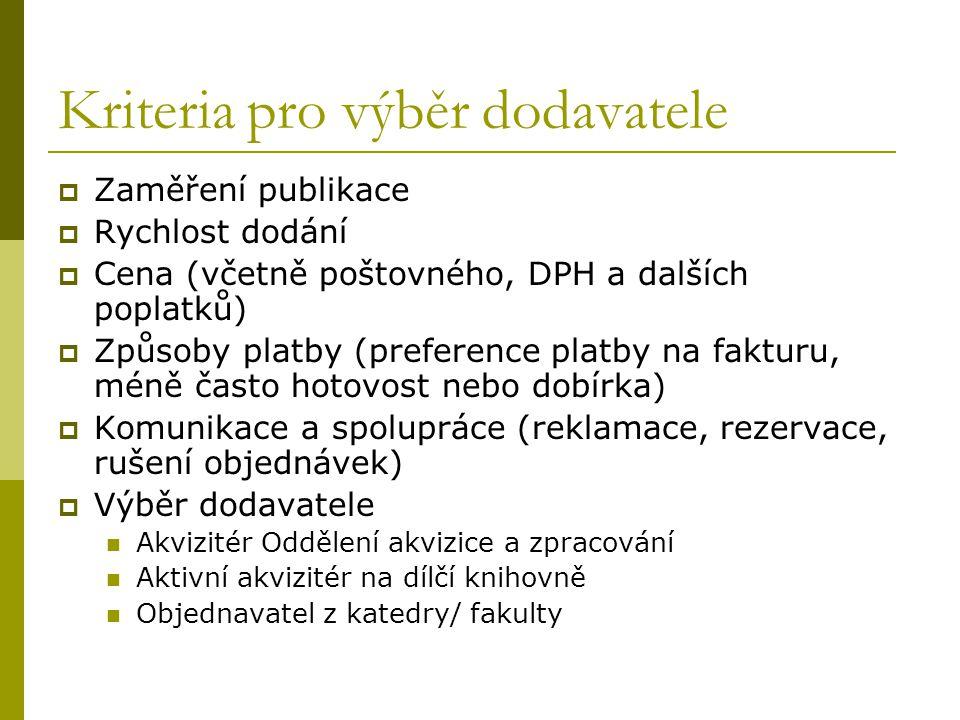 Kriteria pro výběr dodavatele  Zaměření publikace  Rychlost dodání  Cena (včetně poštovného, DPH a dalších poplatků)  Způsoby platby (preference p