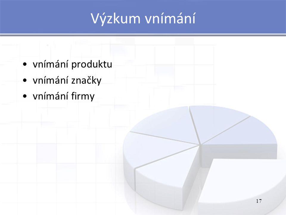 17 Výzkum vnímání vnímání produktu vnímání značky vnímání firmy